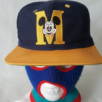 Mickey Mouse M Monogram blue yellow  snapback hat cap Walt Disney Cartoons Movie 80s 90s Retro Dope