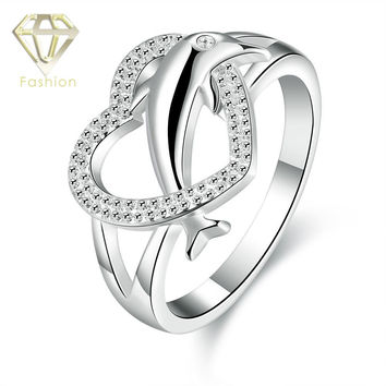 Thumb Rings New Design Romantic Heart & Cute Dolphin Shaped Silver Plated Engagement Rings Fashion Jewelry for Women