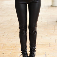 Black Matte Zipper Leggings - Furor Moda - Tops - Dresses - Jackets - Vintage