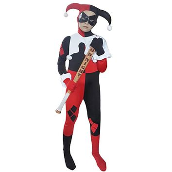 Kids Harley Quinn Costume Joker Girl Cosplay Full Bodysuit Arkham City Superhero Costumes