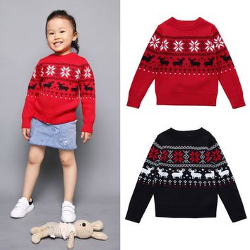 Toddler Boys Girls Unisex Kid Baby Deer Print long sleeve o-neck Sweater Knit Outerwear Christmas Clothes set winter outfit wear