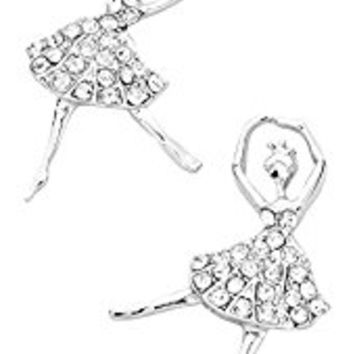 "Womens or Girls Earrings, Ballet Dancer, Color : Silver / Clear • Size : 3/4"" W, 1"" L • Dancing Ballerina Crystal Stud Post Earrings, Rhinestones"