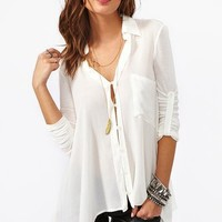 Draped Pocket Blouse - Ivory in What's New at Nasty Gal