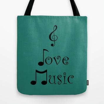 I Love Music - Tribal Teal Tote Bag by Moonshine Paradise