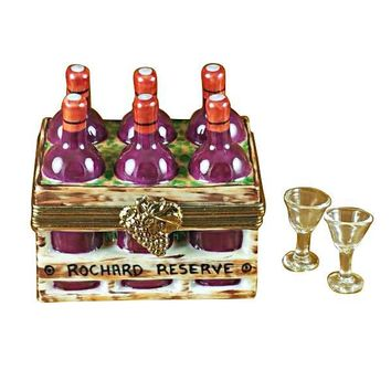 Wine Bottle in Crate w Two Glasses Rochard Limoges Boxes Porcelain