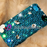 iPhone cover iPhone 4 cover iPhone 4s cover Bling iphone 4 case blue crystal iphone bling case unique iphone case best iphone 4s case