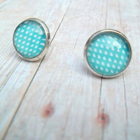 H E A R T S - Turquoise Teal Blue and White Heart Polka Dot Photo Glass Cab Circle Silver Plated Post Earrings