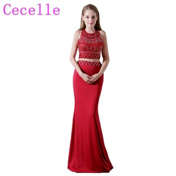 Beading Red Mermaid Two Pieces Long Prom Dresses 2018 Sexy Open Back Jersey Seniors Formal Ball Prom Party Dress Custom Made