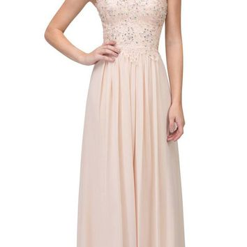 Starbox USA 6197 - Strapless Formal Champagne Evening Dress Chiffon A Line