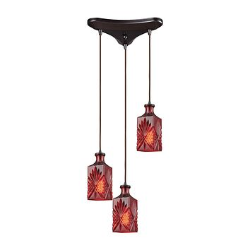 10810/3 Giovanna 3 Light Triangle Pan Fixture In Oil Rubbed Bronze With Wine Red Decanter Glass - Free Shipping!