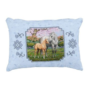 Quarter Horse Mare and Foal Blue Accent Pillow