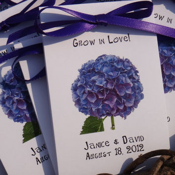 Purple Hydrangeas Design Wedding Favors w/ Wildflowers Seed Packets Personalized Flower Party Engagemnt Parties