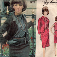 Vintage Vogue Paris Original Designer Fashion 60s Sewing Pattern Guy Laroche Wiggle Skirt Suit Jacket Mad Men Style Bust 36
