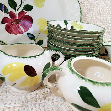 Blue Ridge Southern Pottery Lovely Linda, 35 piece set, vintage hand painted dinnerware set.