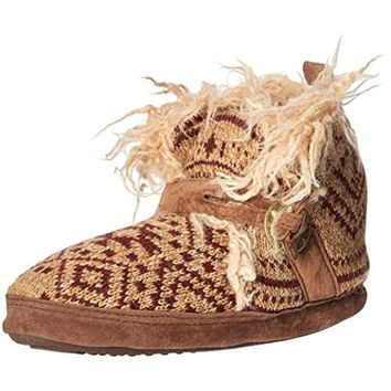 Muk Luks Womens Faux Fur Colorblock Bootie Slippers