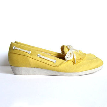 Vintage size 55 Canvas Shoes Yellow Slip On by MidnightFlight