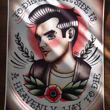 Framed Morrissey Tattoo Flash Art Print The Smiths