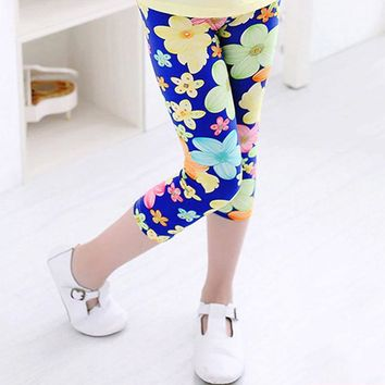 Blue Yellow Floral Leggings Calf Length