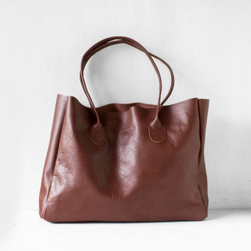 Chestnut Brown Leather Shopper / Leather Tote / Shoulder Bag / Brown Leather Bag / Leather Bag / Women's Handbag / Raw Edged Shopper