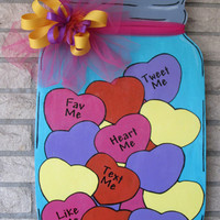 Mason Jar Wood Door Hanger Filled With Hearts