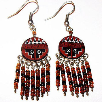"Indian Tribal Dangle Earrings Brown & Black Beads Circle Stations Wire Hooks 2 1/4"" Vintage"