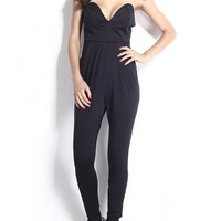 Casual Sweet Heart Plain Jumpsuit