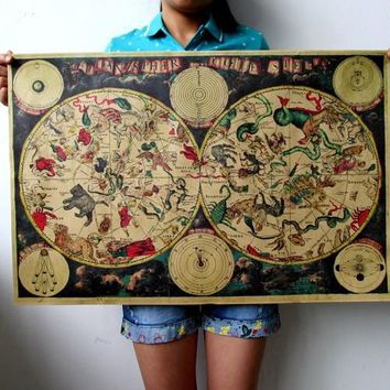 Large Vintage Style Retro Paper Poster Gifts 1680 ancient zodiac constellation map