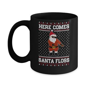 Here Comes Santa Floss Flossing Ugly Christmas Sweater Mug