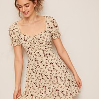 Tie Neck Ruffle Cuff Ditsy Floral Dress