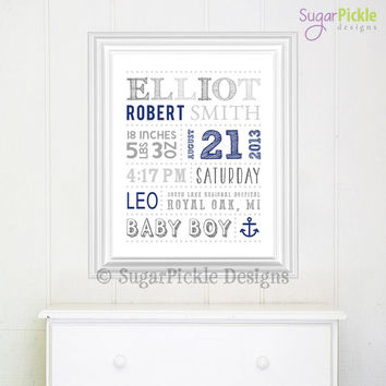 Nursery Art, Nautical Birth Announcement Birth Details - Baby Shower Gift - Keepsake - Subway Art Template - Subway Art, Birth Details