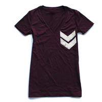 Sequin Chevron Pocket Patch Favorite Tee - Deep V Neck