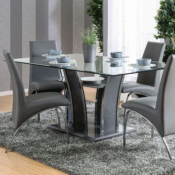 7 pc Glenview collection contemporary style gray finish wood chrome trim base with beveled glass top dining table set