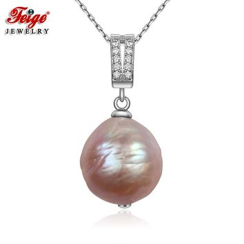 FEIGE Baroque style 13mm Big Multicolor Natural Freshwater Pearl Pendant Real 925 Silver Pendant Necklace for Women Fine Jewelry