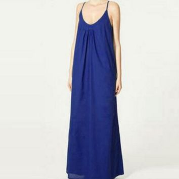 The latest lazy long strap dress
