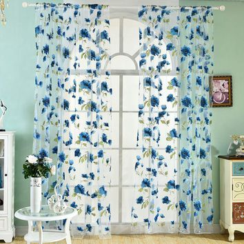 100% Polyester Tulle Curtain Summer Floral Print Perspective Balcony Living Room Drape Panel Scarf Curtains New