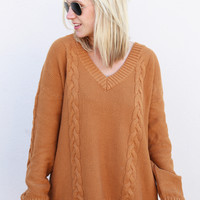 Pumpkin Butter Cable Knit Sweater