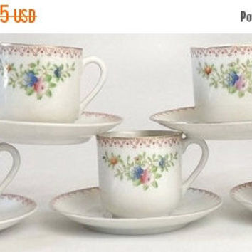 ON SALE - Occupied Japan Demitasse Cups & Saucers, Lot of 5 Vintage 1940s Kitchen Tableware