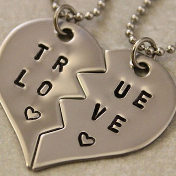 True Love Couples Necklaces - Couples Jewelry - Girlfriend Boyfriend Gift - Hand Stamped His and Her Necklaces - Stainless Steel