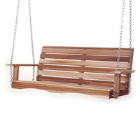 Shop All Things Cedar All Things Cedar 3-Seat Wood Casual Natural Unstained Porch Swing at Lowe's