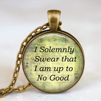 Harry Potter 'I Solemnly Swear That I Am Up To No Good' antique bronze pendant necklace, harry potter jewelry , gift for men women