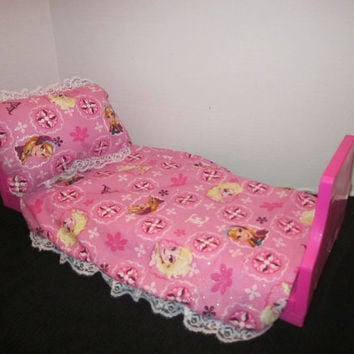 American Girl Doll Bedding, Frozen Princess Ana, Princess Elsa, 18 Inch Doll Accessories, Doll Bed Sets,  By Sweetpeas Bows & More