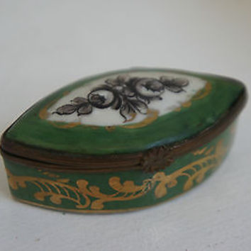 Decorative Limoges Porcelain Trinket Box  Rare Shape Hinged Made in France