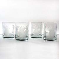 Rolf Glass Pineapple 4-pc. Double Old-Fashioned Glass Set
