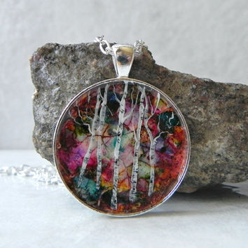 Birch Tree Necklace Art Pendant Hand Painted Silver Plated 30 mm with Rolo Chain Necklace