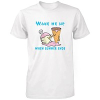 Wake Me Up When Summer Ends Ice Cream Men's T Shirt Humorous Summer White Tee