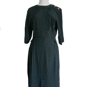 Vintage 1980s Dress Leaf Print Black and Teal with Decorative Buttons and Pleating - Midi Length - Positive Influence Made in USA - Size 12