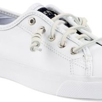 Sperry Top-Sider Seacoast Leather Sneaker White, Size 7.5M  Women's Shoes