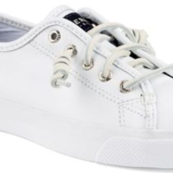 Sperry Top-Sider Seacoast Leather Sneaker White, Size 6M  Women's Shoes