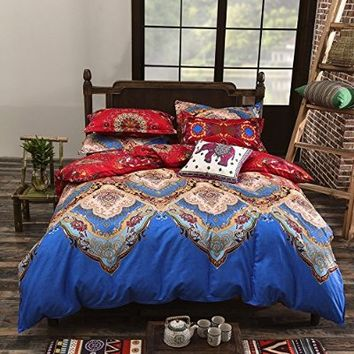 Vaulia Lightweight Microfiber Duvet Cover Set, Bohemia Exotic Patterns, Reversible Color Design, Blue/Red Multi-Color, Full/Queen Size