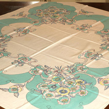 Vintage Tablecloth Cotton Aqua and Pink | Card Table Tablecloth Circa 40s-50s Floral Pansies Design | Card Table Cover | Old Tablecloth